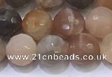 CMS1497 15.5 inches 8mmm faceted round rainbow moonstone beads