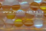 CMS1538 15.5 inches 10mm round matte synthetic moonstone beads