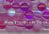 CMS1546 15.5 inches 6mm round matte synthetic moonstone beads