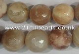 CMS574 15.5 inches 14mm faceted round moonstone gemstone beads