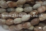 CMS70 15.5 inches 6*10mm faceted rice moonstone gemstone beads