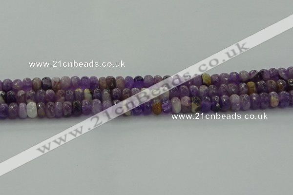 CNA1029 15.5 inches 5*8mm faceted rondelle dogtooth amethyst beads