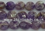 CNA1044 15.5 inches 10mm faceted coin dogtooth amethyst beads