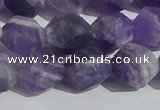 CNA1079 15.5 inches 12mm faceted nuggets matte dogtooth amethyst beads