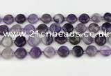 CNA1186 15.5 inches 12mm flat round amethyst beads wholesale