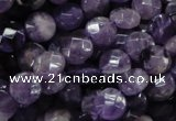 CNA57 15.5 inches 10mm faceted coin grade A natural amethyst beads