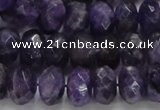 CNA63 15.5 inches 7*12mm faceted rondelle grade A natural amethyst beads
