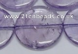 CNA829 15.5 inches 40mm flat round natural light amethyst beads