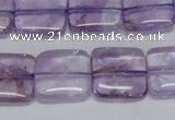 CNA841 15.5 inches 12mm square natural light amethyst beads
