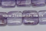 CNA842 15.5 inches 14mm square natural light amethyst beads