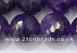 CNA994 15.5 inches 12mmm faceted round amethyst beads wholesale