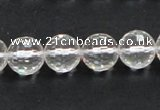 CNC10 15.5 inches 12mm faceted round grade AB natural white crystal beads