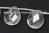 CNC27 18*25mm briolette grade AB natural white crystal beads