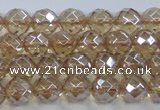 CNC518 15.5 inches 8mm faceted round dyed natural white crystal beads