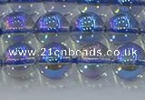 CNC590 15.5 inches 10mm round plated natural white crystal beads