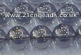 CNC598 15.5 inches 14mm round plated natural white crystal beads