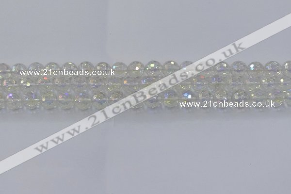 CNC602 15.5 inches 8mm faceted round plated natural white crystal beads
