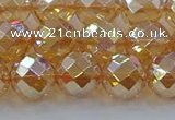 CNC622 15.5 inches 10mm faceted round plated natural white crystal beads