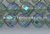 CNC630 15.5 inches 12mm faceted round plated natural white crystal beads