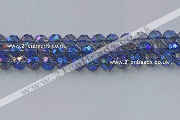 CNC637 15.5 inches 14mm faceted round plated natural white crystal beads