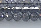 CNC639 15.5 inches 6mm faceted round plated natural white crystal beads
