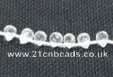 CNC64 5*7mm faceted teardrop grade A natural white crystal beads