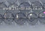 CNC641 15.5 inches 10mm faceted round plated natural white crystal beads