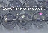 CNC643 15.5 inches 14mm faceted round plated natural white crystal beads