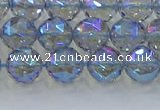 CNC658 15.5 inches 8mm faceted round plated natural white crystal beads