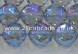 CNC661 15.5 inches 14mm faceted round plated natural white crystal beads