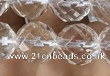 CNC705 15.5 inches 12mm faceted round white crystal beads
