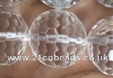 CNC719 15.5 inches 20mm faceted round white crystal beads