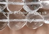 CNC736 15.5 inches 10*10mm faceted heart white crystal beads