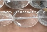 CNC764 15.5 inches 12*16mm faceted oval white crystal beads