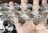 CNC834 14*14mm twisted diamond white crystal & smoky quartz beads