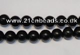 CNE03 15.5 inches 8mm round black stone needle beads wholesale