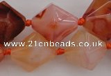 CNG1066 15.5 inches 13*18mm - 16*22mm faceted bicone red agate beads