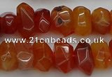 CNG1170 15.5 inches 8*14mm - 10*18mm faceted nuggets carnelian beads