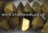 CNG1301 15.5 inches 10*20mm - 15*30mm faceted nuggets plated quartz beads
