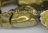 CNG1322 15.5 inches 15*30mm – 25*35mm nuggets plated quartz beads