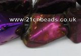 CNG1323 15.5 inches 15*30mm – 25*35mm nuggets plated quartz beads