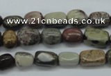 CNG202 15.5 inches 8*13mm nuggets leopard skin jasper beads