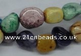 CNG228 15.5 inches 10*14mm nuggets dyed white agate gemstone beads