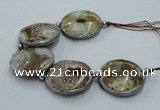 CNG2303 7.5 inches 35mm flat round agate beads with brass setting