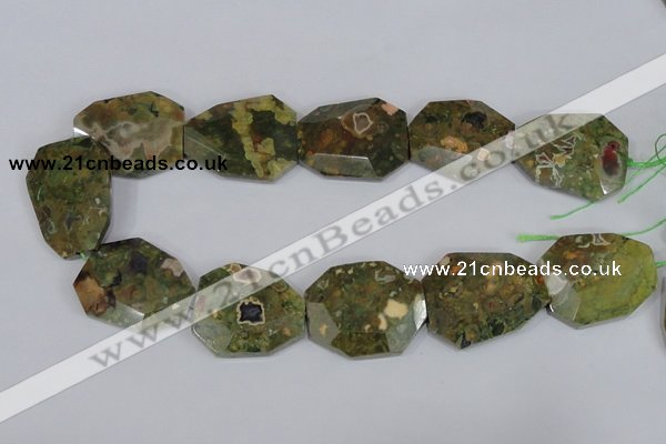 CNG303 15.5 inches 28*38mm faceted nuggets peacock gemstone beads
