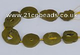 CNG3101 15.5 inches 25*30mm - 35*50mm freeform plated druzy agate beads