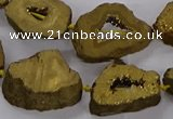 CNG3162 15.5 inches 13*18mm - 18*25mm freeform plated druzy agate beads