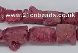 CNG3252 15.5 inches 8*15mm - 11*20mm freeform plated druzy agate beads