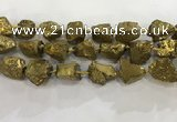 CNG3548 15*20mm - 20*25mm nuggets plated rough white crystal beads