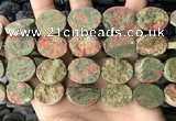 CNG3707 15.5 inches 15*20mm oval rough unakite gemstone beads